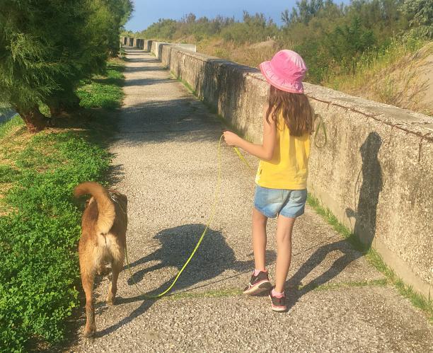 bimba in passeggiata con il cane